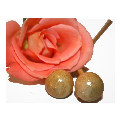Rose with wooden percussion bell mallets custom letterhead