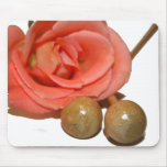 Rose with wooden percussion bell mallets mouse pads