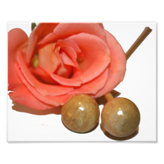 Rose with wooden percussion bell mallets photo art