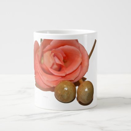 Rose with wooden percussion bell mallets jumbo mugs