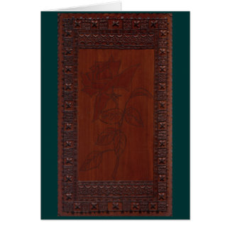 """Rose""  Wood Carving Card"