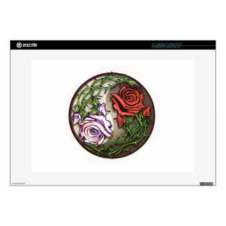 Rose yingyang tattoo design decals for laptops
