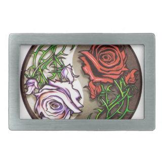 Rose yingyang tattoo design rectangular belt buckle
