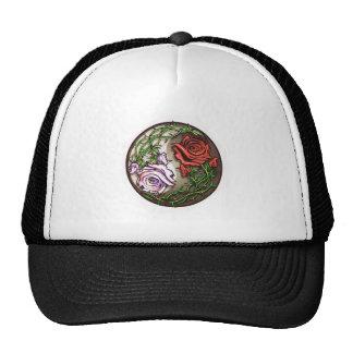 Rose yingyang tattoo design trucker hat