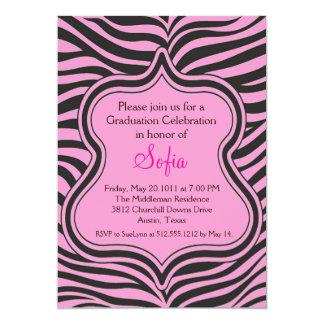 Rose Zebra Graduation Invitation Custom Color