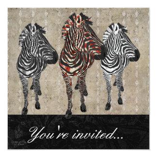 Rose Zebra Shadows Invitation