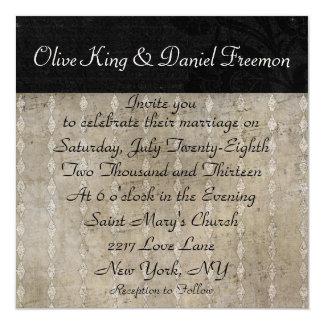 Rose Zebra Shadows Wedding Invitation