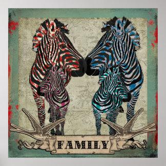 Rose Zebras Family Poster
