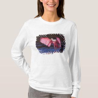 Roseate Spoonbill (Ajaia ajaja) with Cormorant T-Shirt