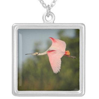 Roseate Spoonbill in Flight Square Pendant Necklace