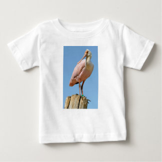 Roseate Spoonbill on wood post Baby T-Shirt