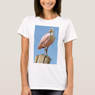 Roseate Spoonbill on wood post T-Shirt
