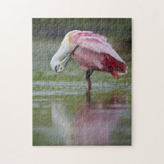 Roseate Spoonbill Preening Lovely Pink Feathers Jigsaw Puzzle