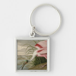 Roseate Spoonbill Silver-Colored Square Keychain