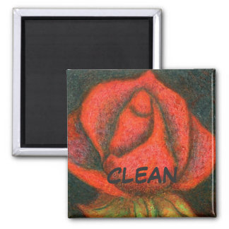 """Rosebud"" Clean Dishwasher Status Magnet"