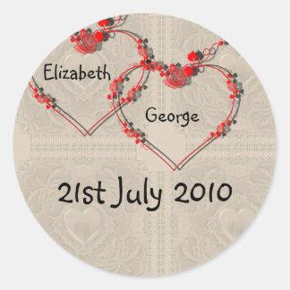 Rosebud Hearts Classic Round Sticker