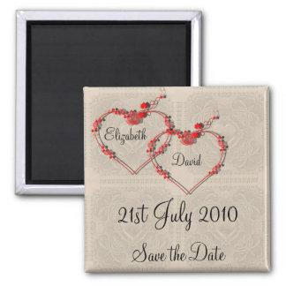 Rosebud Hearts 2 Inch Square Magnet