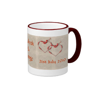 Rosebud Hearts Ringer Coffee Mug