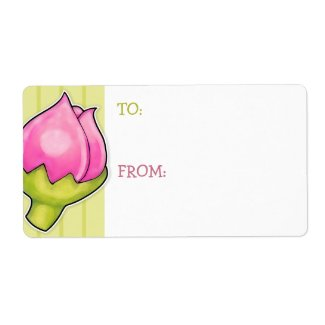 Rosebud Joy green Gift Tag Sticker