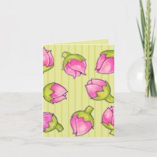 Rosebud Joy green pattern Note Card