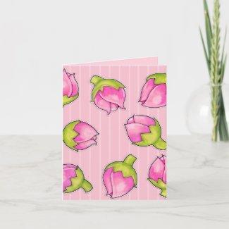 Rosebud Joy pink pattern Note Card
