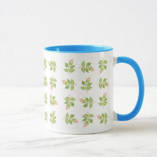 Rosebud Mini-print Pink Blue White Ringer Mug