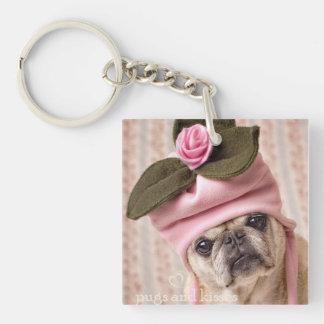 Rosebud Pug Key Chain Square Acrylic Keychain