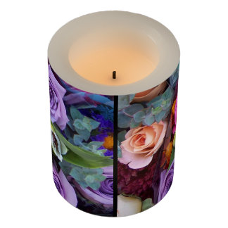 Rosebud Rose Flower Floral Garden Bouquets Flameless Candle