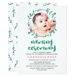 Baby naming ceremony invitations announcements zazzle rosebud wreath pink green naming ceremony invitation stopboris Gallery
