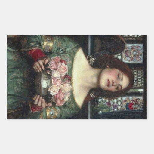 Rosebuds by John William Waterhouse Rectangular Sticker