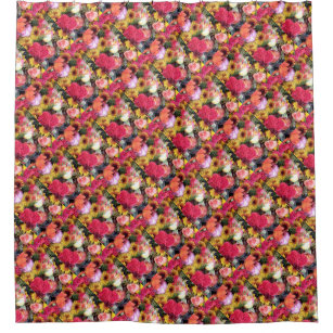 Rosebuds Mums Flowers Floral Bouquets Collage Shower Curtain