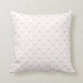 Rosebuds & Stripes Throw Pillow