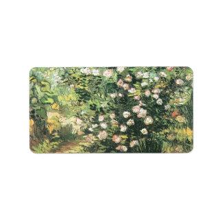 Rosebush de florecimiento de Vincent van Gogh Etiqueta De Dirección