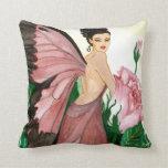 Rosebush Fairy Throw Pillow