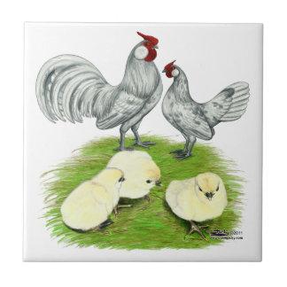 Rosecomb Bantams and Chicks Ceramic Tile