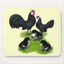 Rosecomb Black Bantam Family Mouse Pad