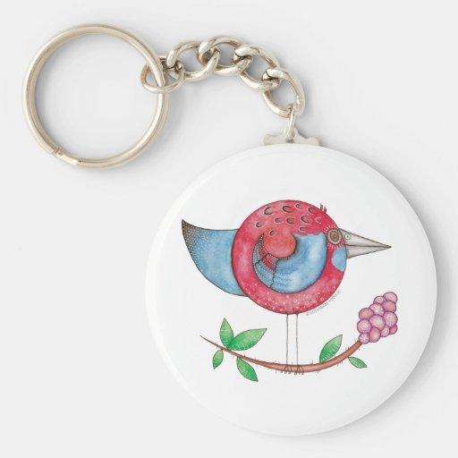 Rosella carmesí llavero redondo tipo pin