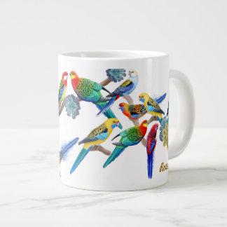Rosella colorido repite mecánicamente la taza taza grande
