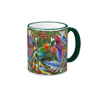 Rosella Parrots in Fig Tree Ringer Mug