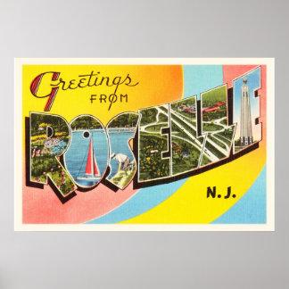 Roselle New Jersey NJ Old Vintage Travel Postcard- Poster