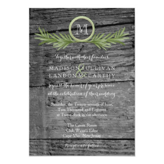 Rosemary and Rustic Wood Wedding 5x7 Paper Invitation Card