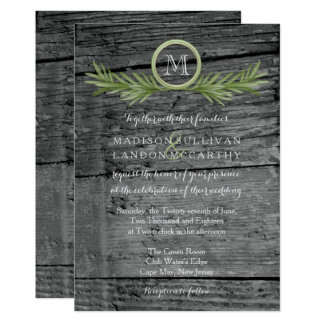 Rosemary and Rustic Wood Wedding Card