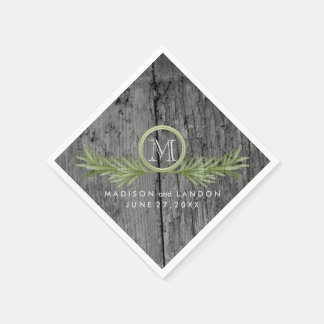Rosemary and Rustic Wood Wedding Standard Cocktail Napkin