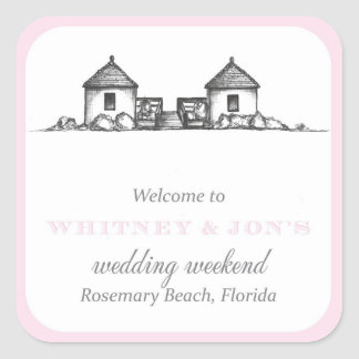 Rosemary Beach Welcome Label Square Sticker