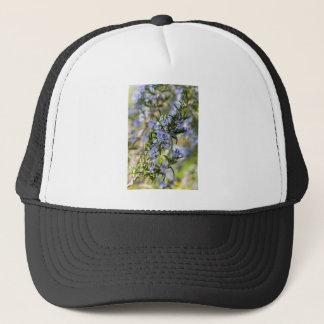 Rosemary blossom in spring macro trucker hat