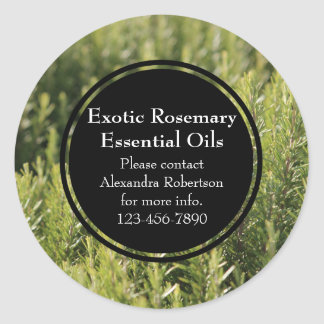 Rosemary Essential Oil Business Bottle Label Classic Round Sticker