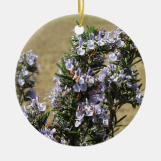 Rosemary plant with flowers Double-Sided ceramic round christmas ornament
