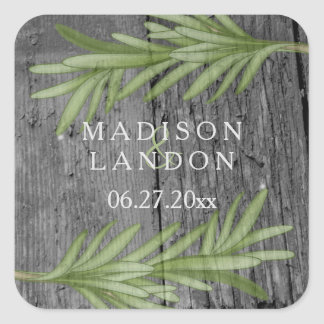 Rosemary Sprigs Herbal Wedding Names Square Sticker