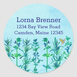 Rosemary Thyme Bee Watercolor Herbs Return Address Classic Round Sticker