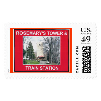 ROSEMARY'S TOWER & TRAIN STATION POSTAGE STAMP